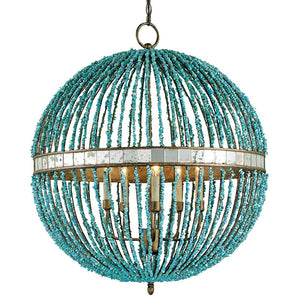 Lighting - Beaded Orb Chandelier — Turquoise Blue