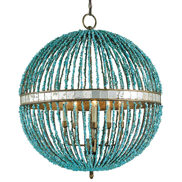 Currey And Company Beaded Orb Chandelier Turquoise Blue
