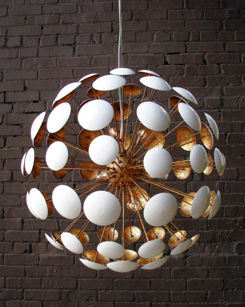 Lighting - Bilbao Modern Chandelier - Gloss White With Gold Leaf