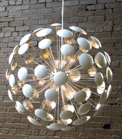 Lighting - Bilbao Modern Chandelier - Gloss White With Silver Leaf