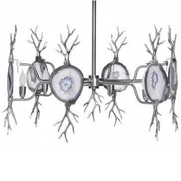 Lighting - Branch Agate Chandelier - Nickel