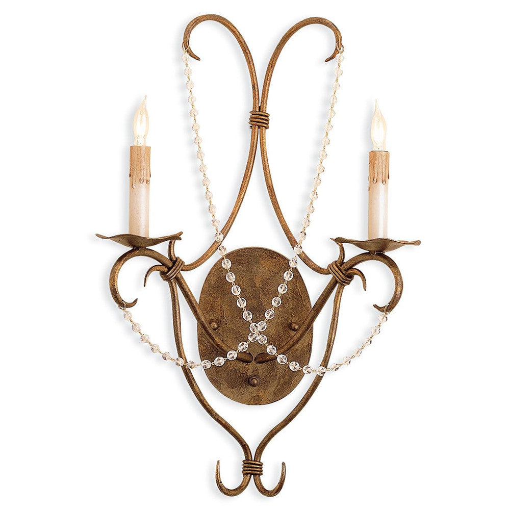 Lighting - Crystal-Draped Wall Sconce — Gold