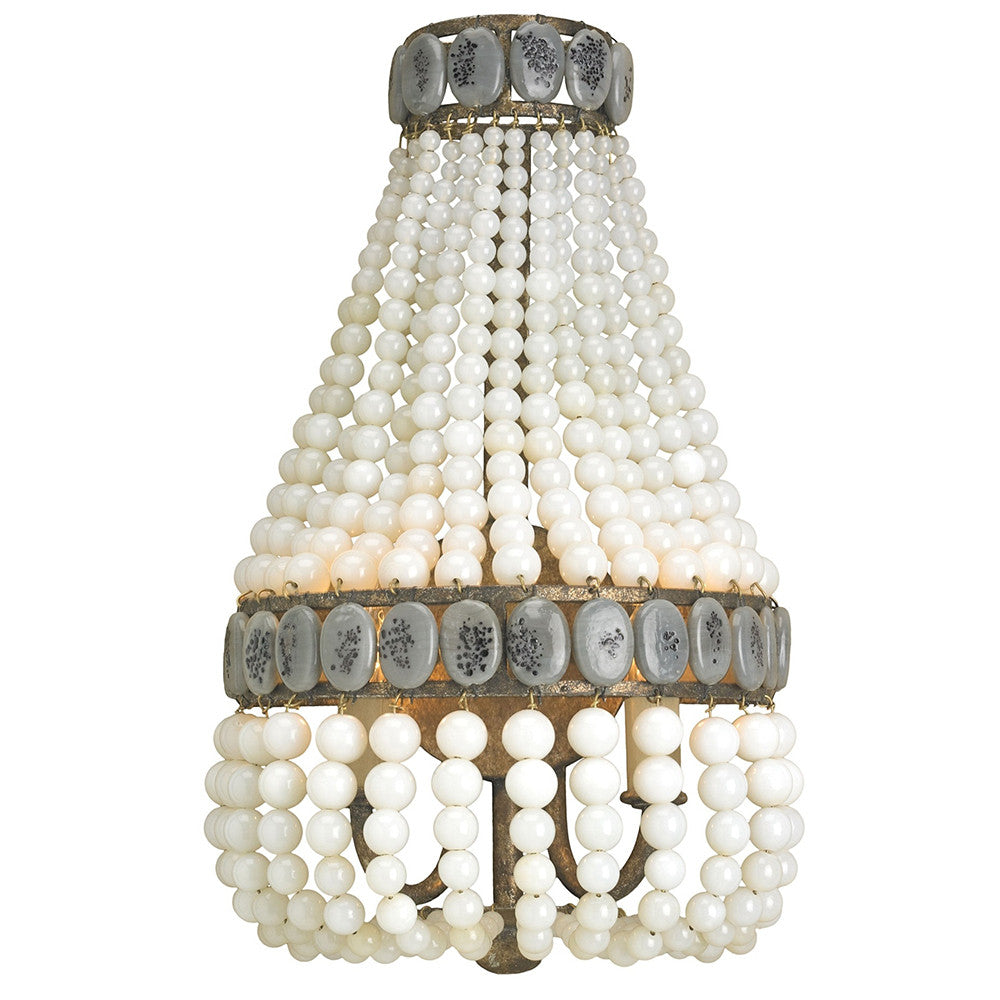 Lighting - Glass Beaded Swag Wall Sconce - Cream & Grey