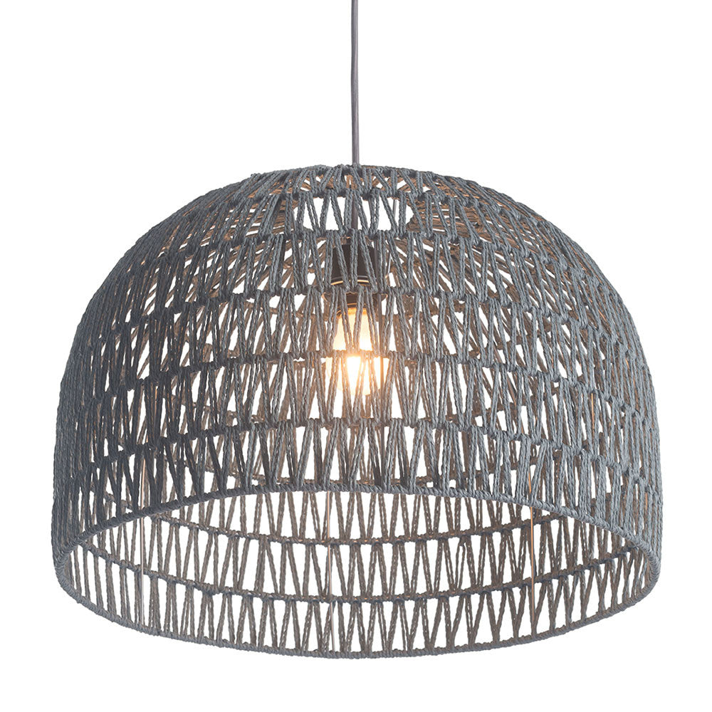 Lighting - Half Dome Basket Pendant Light — Woven Paper And Metal