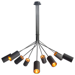 Lighting - Industrial Metal And Fabric Chandelier — Black