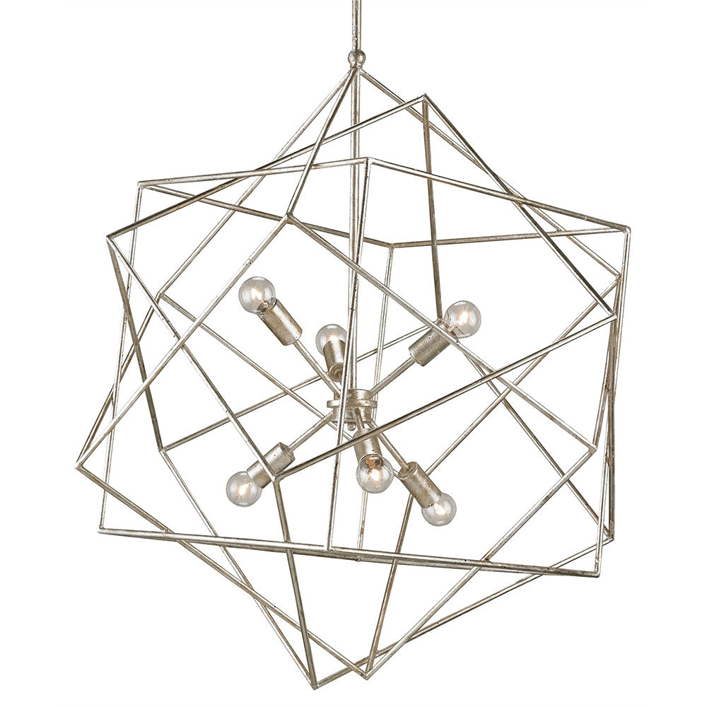 Lighting - Interlocking Cubes Geometric Chandelier — Silver