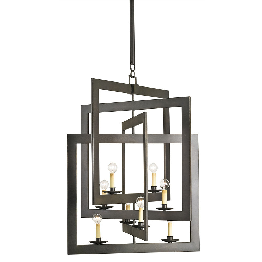 Lighting - Interlocking Squares Wrought Iron Chandelier