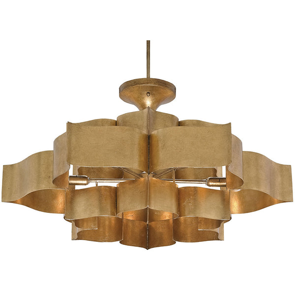 Lighting - Lotus Sculptural Chandelier — Antique Gold