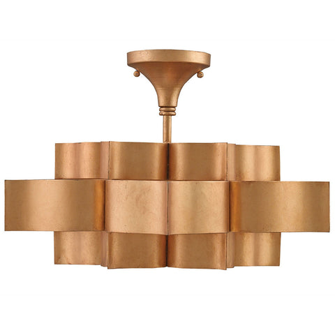 Lighting - Lotus Semi-Flush Light – Antique Gold