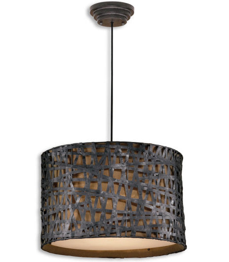 Lighting - Metal Straps Drum Pendant Light - Black