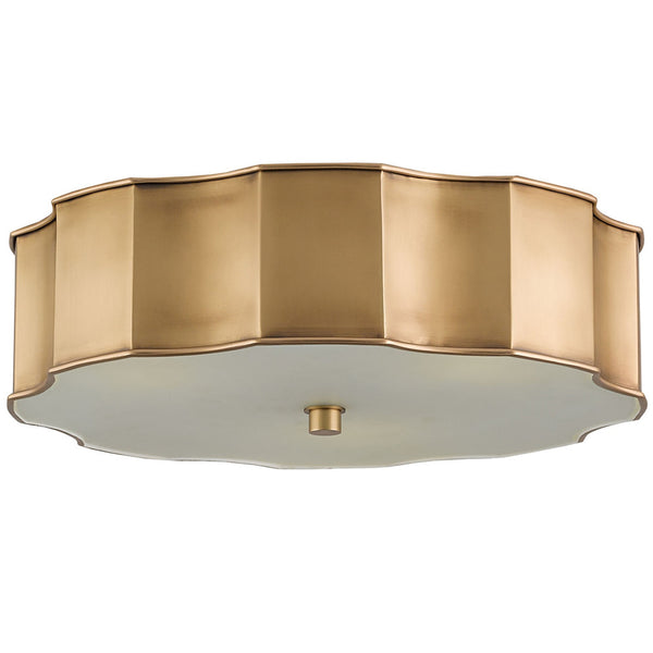 Shop ceiling lighting scenario home currey and company scalloped flush mount light brass mozeypictures Images