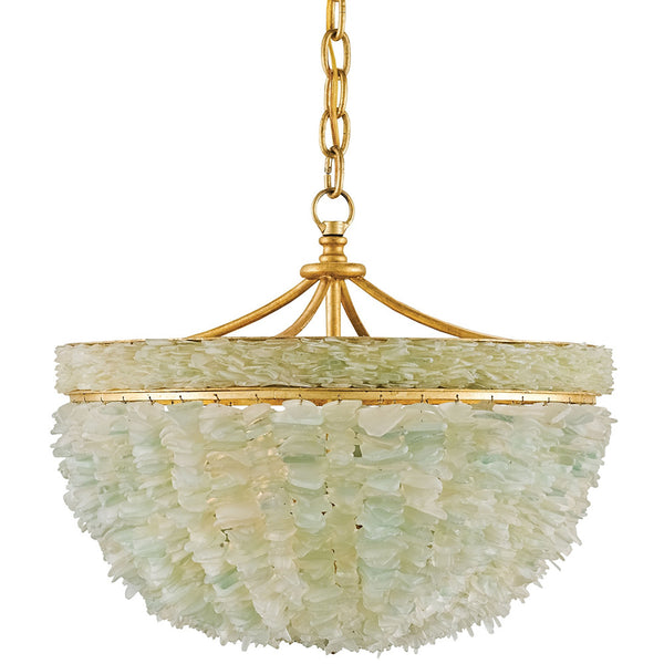 Lighting - Sea Glass Basket Chandelier — White & Gold