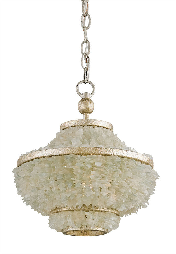 Currey And Company Sea Glass Basket Pendant Light Silver White