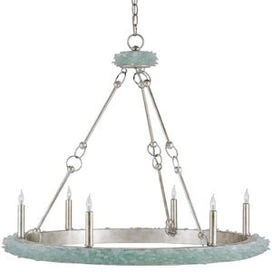 Lighting - Sea Glass Round Chandelier — Antique Silver