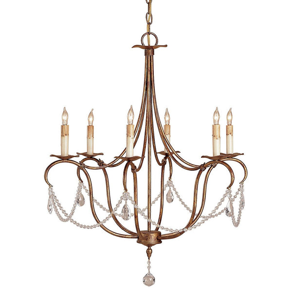 Lighting - Single Swag Crystal Chandelier — Deep Gold