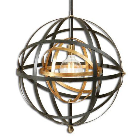 Lighting - Sphere Chandelier - Bronze & Gold