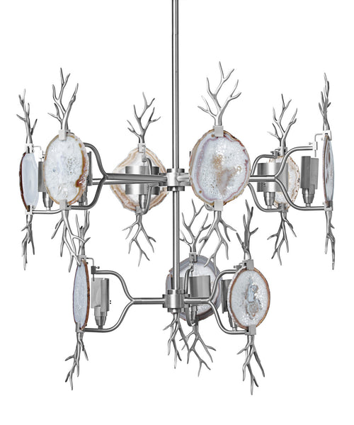 Lighting - Two-Tiered Branch Agate Chandelier - Nickel