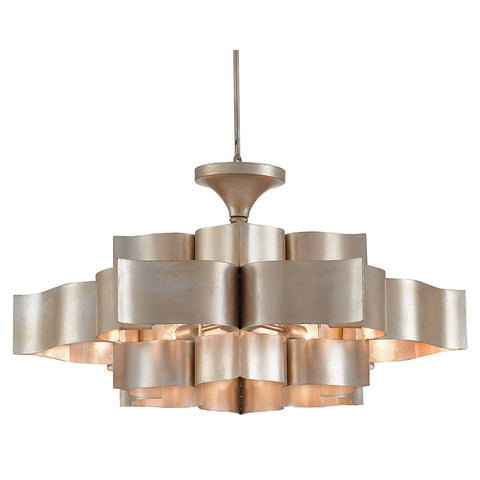 Currey and Company Lotus Sculptural Chandelier – Silver Leaf