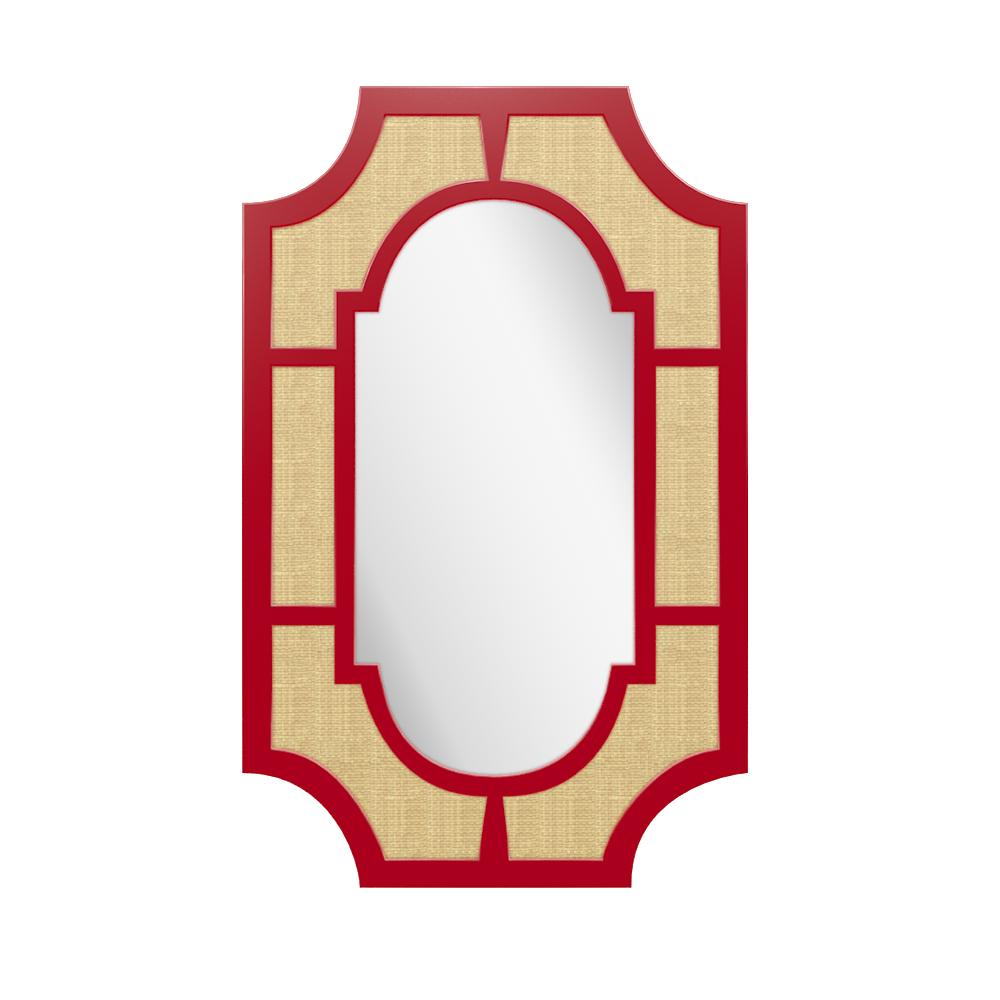 Lyford Rectangle Lacquer Mirror with Notched Corners – Bolero Red (19 Colors Available)
