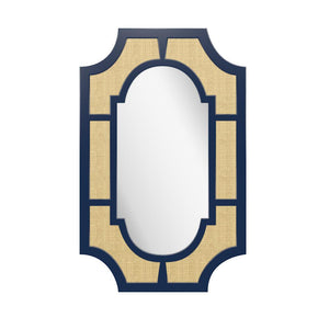 Lyford Rectangle Lacquer Mirror with Notched Corners – Navy Blue (19 Colors Available)