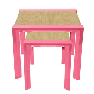 Modern Lacquer Nesting Side Tables – Pink (Additional Colors Available)