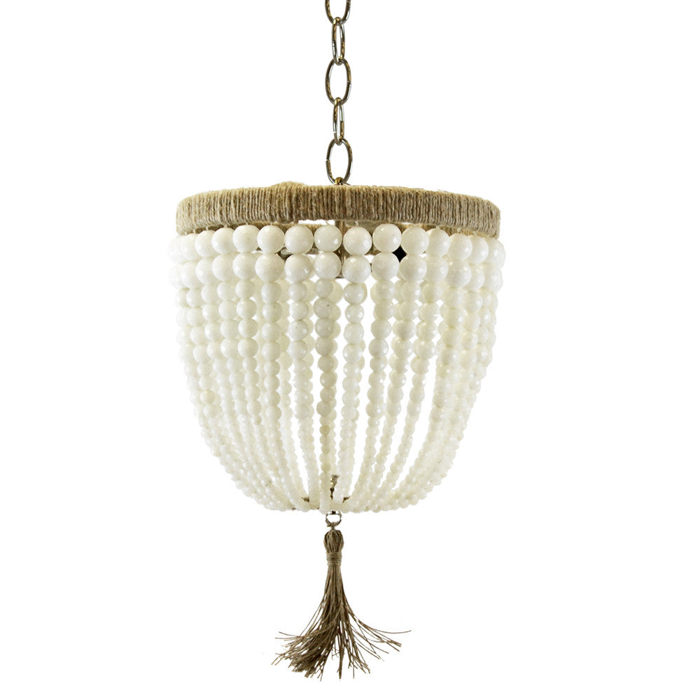 "12"" Malibu Beaded Chandelier – Milk Beads"