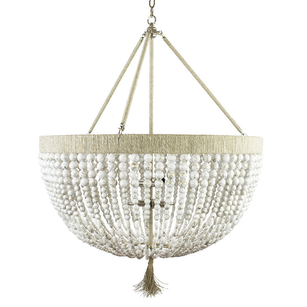 "30"" Malibu Beaded Chandelier with Arms – White Swirl Beads"