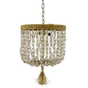 "12"" Malibu Beaded Chandelier – Silver Mirrored Crystal Nugget Beads"