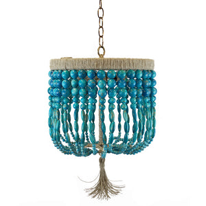 "12"" Malibu Beaded Chandelier – Turquoise Swirl Beads"