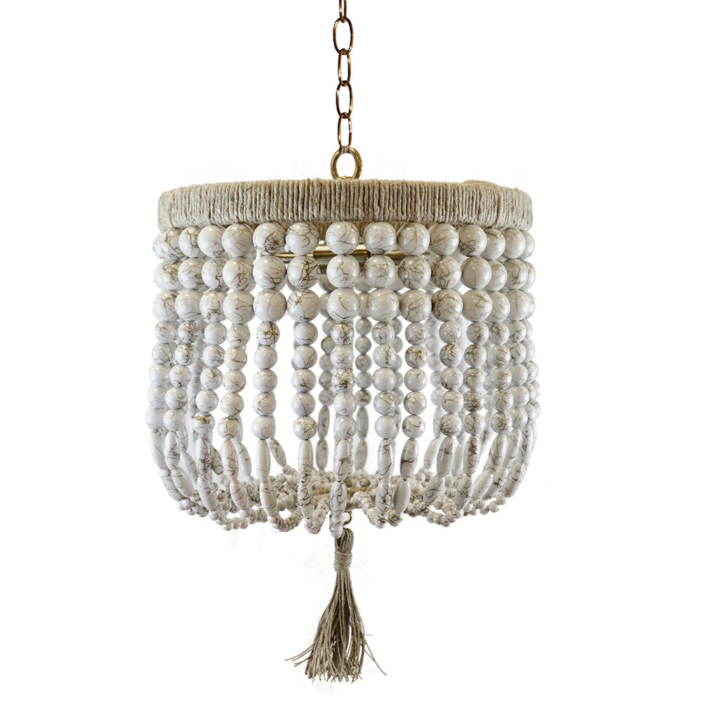 "12"" Malibu Beaded Chandelier – White Swirl Beads"