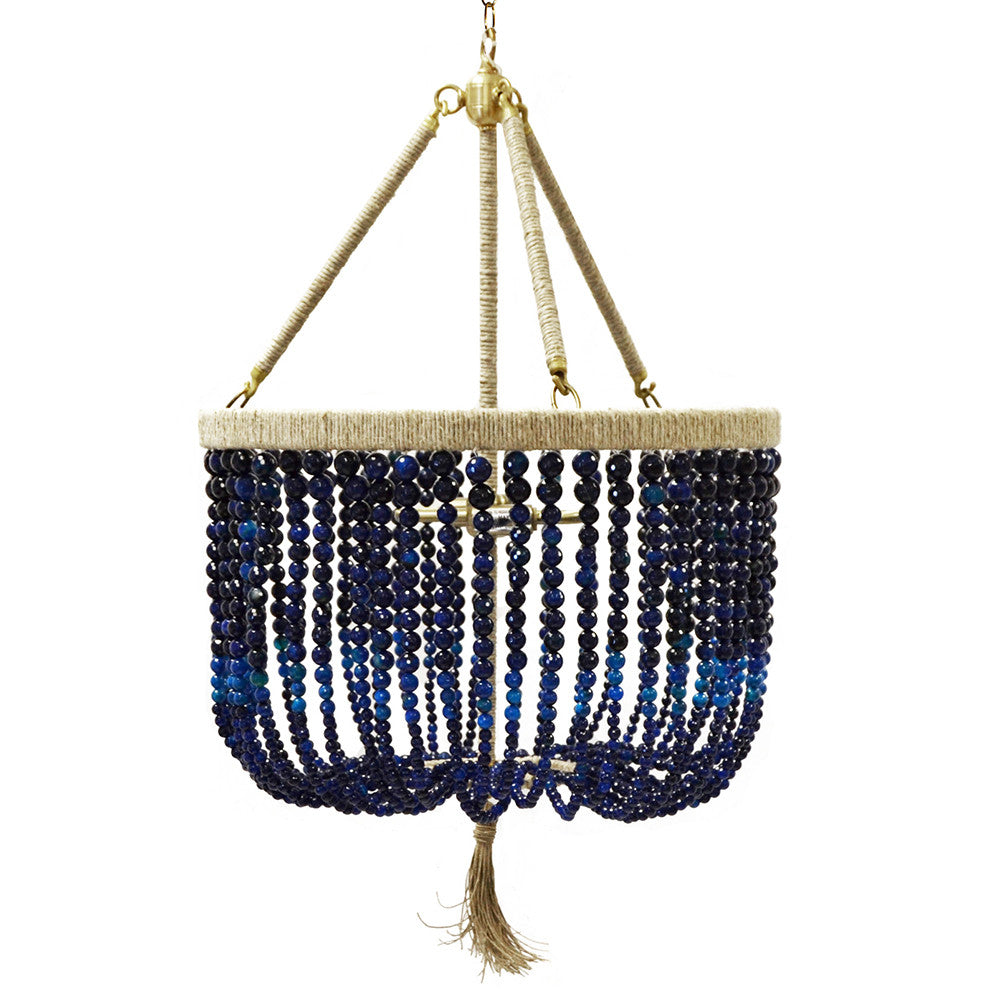 "18"" Malibu Beaded Chandelier with Arms – Navy Agate Beads"