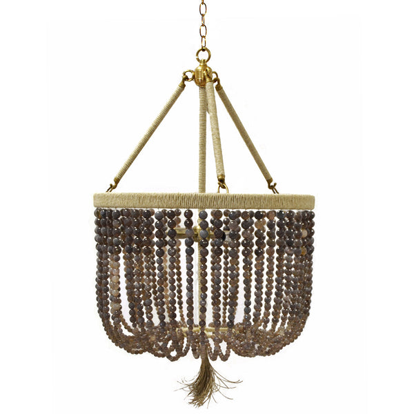 "18"" Malibu Beaded Chandelier with Arms – Grey Agate Beads"