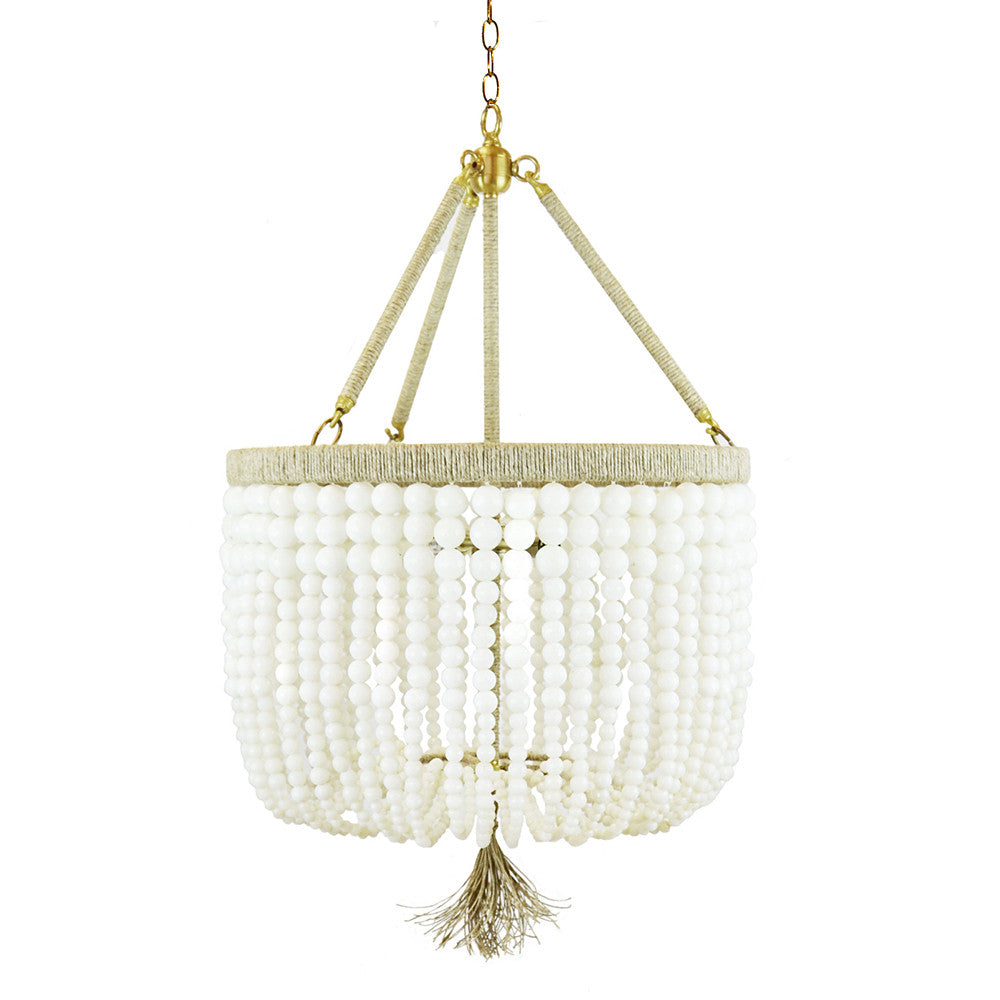 "18"" Malibu Beaded Chandelier with Arms – Milk Beads"