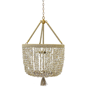 "18"" Malibu Beaded Chandelier with Arms – Silver Mirrored Crystal Nugget Beads"