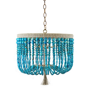 "18"" Malibu Beaded Chandelier – Turquoise Swirl Beads"