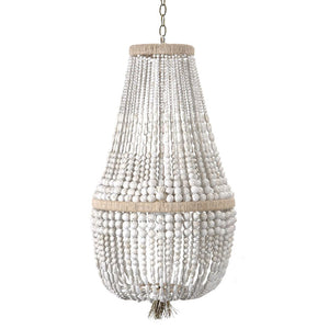 "18"" Malibu Up Beaded Chandelier – White Swirl Beads"