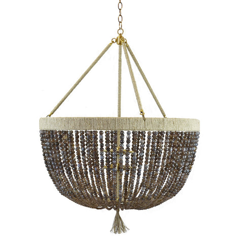 "30"" Malibu Beaded Chandelier with Arms – Grey Agate Beads"