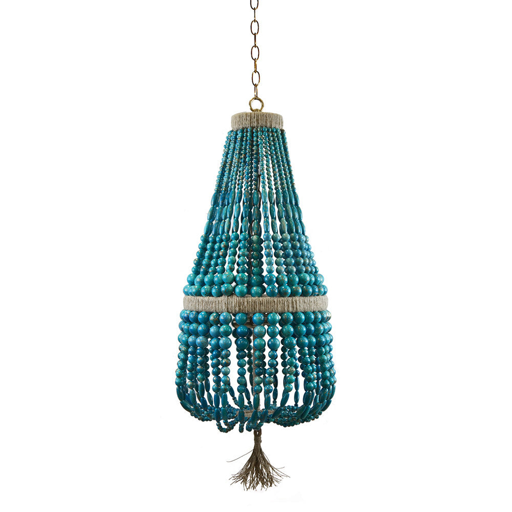 "12"" Malibu Up Beaded Chandelier – Turquoise Swirl Beads"