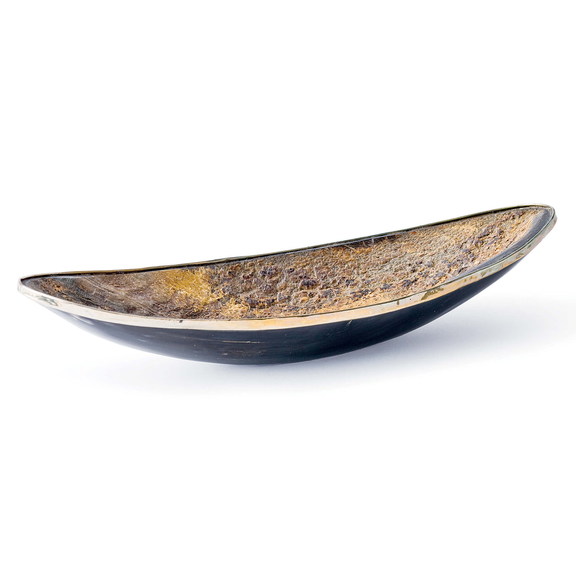 Elongated Horn Dish With Brass Trim