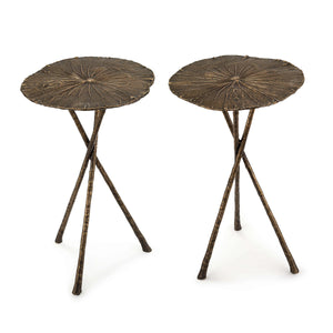 Lotus Table Small (Set of 2) Antique Brass