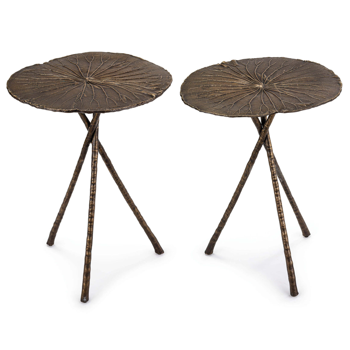 Lotus Table Large (Set of 2) Antique Brass