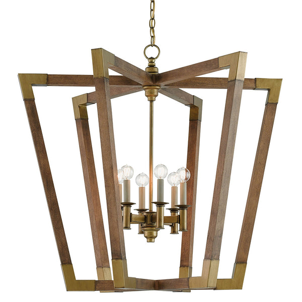 Currey and Company Mid Century Chandelier – Wood & Brass