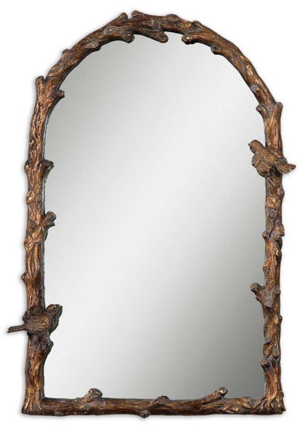 Mirrors - Antique Gold Arched Birds Mirror