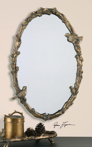 Mirrors - Antique Gold Oval Birds Mirror