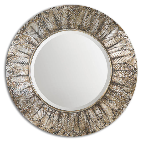 Mirrors - Antiqued Layered Leaves Round Mirror