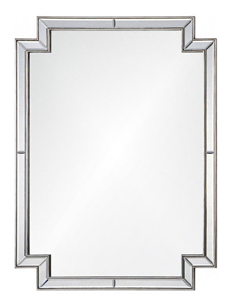 Mirrors - Art Deco Framed Mirror - Antique Silver