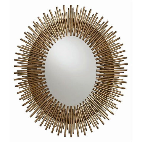 Mirrors - Arteriors Prescott Large Oval Starburst Mirror - Antique Gold Leaf