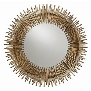 Mirrors - Arteriors Prescott Round Starburst Mirror - Antique Gold Leaf