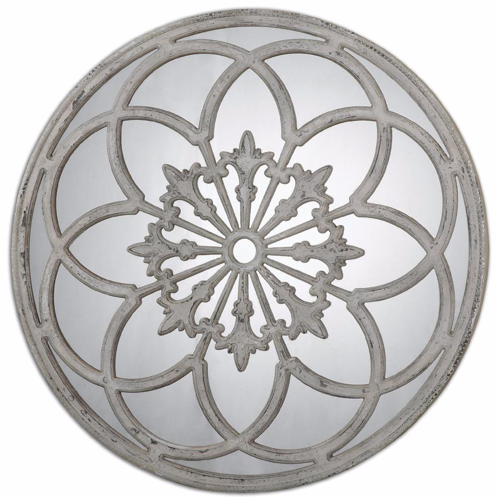distressed round decorative mirror | scenario home