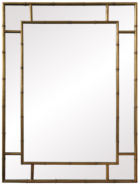 Mirrors - Faux Bamboo Mirror - Antique Gold